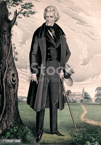 Vintage portrait features Andrew Jackson, American soldier and statesman who served as the seventh president of the United States from 1829 to 1837.