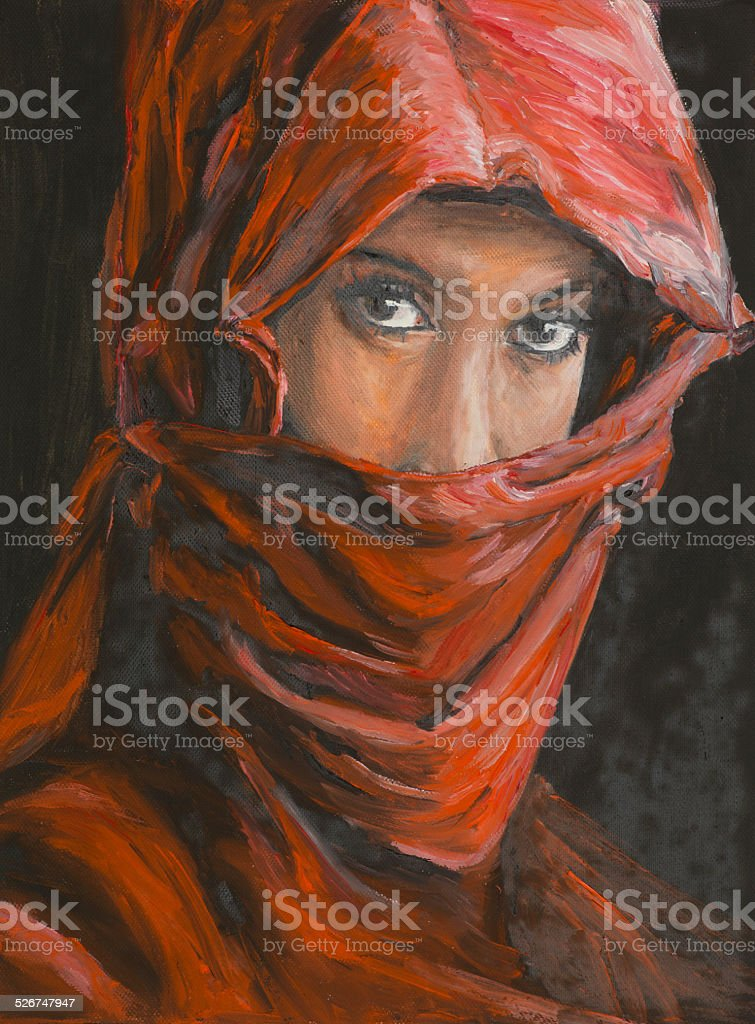 portrait of beautiful arabian woman in hijab vector art illustration