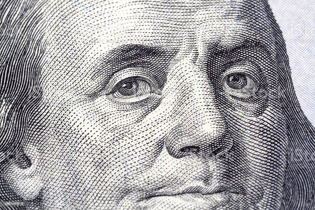 Portrait of Benjamin Franklin close-up vector art illustration