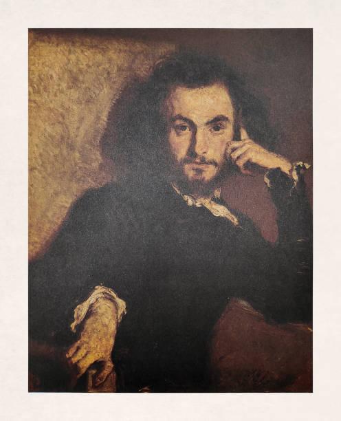 Portrait of Charles Baudelaire vector art illustration