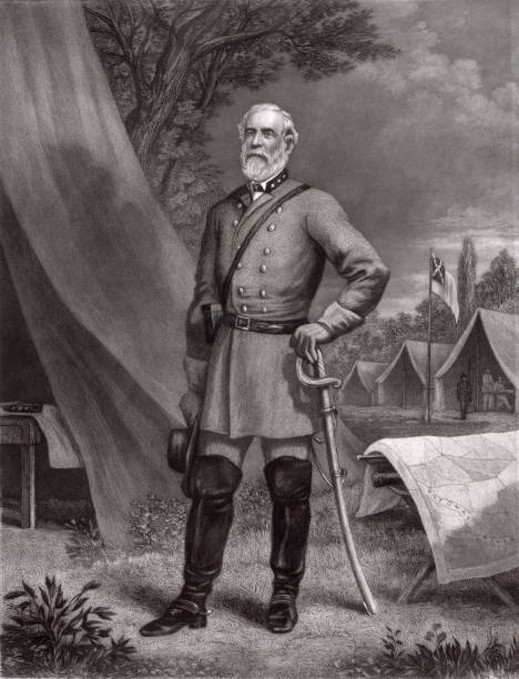 portrait of confederate general robert e. lee - confederate flag stock illustrations, clip art, cartoons, & icons