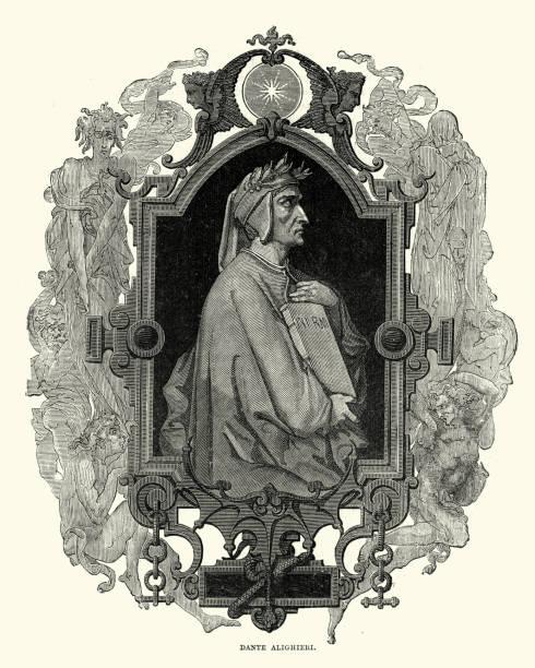 illustrazioni stock, clip art, cartoni animati e icone di tendenza di portrait of dante alighieri - dante alighieri