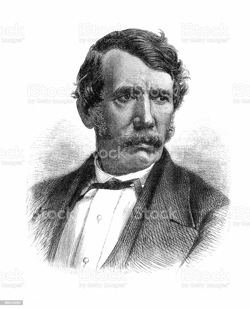 Portrait of Dr. David Livingstone, 1866 royalty-free stock vector art