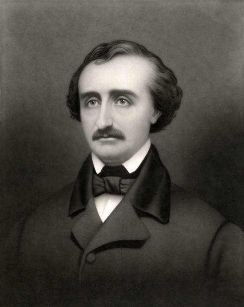Portrait of Edgar Allan Poe (1809-1849) Vintage portrait of Edgar Allan Poe, an American writer, editor, and literary critic, best known for his poetry and short stories, particularly his tales of mystery and the macabre. Notable works include The Raven, The Tell-Tale Heart, The Pit and the Pendulum, The Mask of the Red Death, and The Fall of the House of Usher. name of person stock illustrations