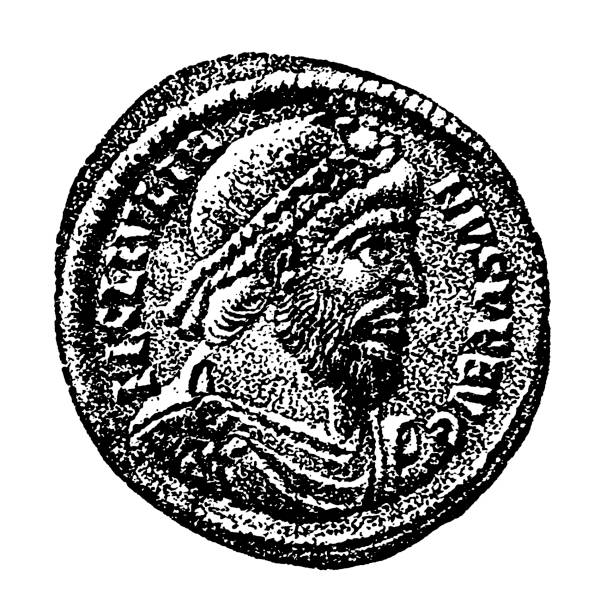 Portrait of Emperor Julian on a bronze coin from Antioch minted in 360–363 Illustration of a Portrait of Emperor Julian on a bronze coin from Antioch minted in 360–363 apostasy stock illustrations