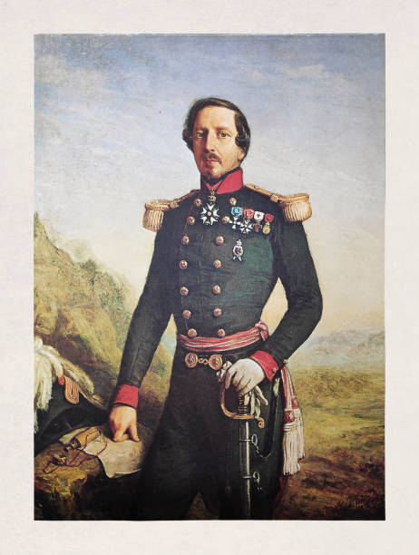 Portrait of Emperor Napoleon III vector art illustration