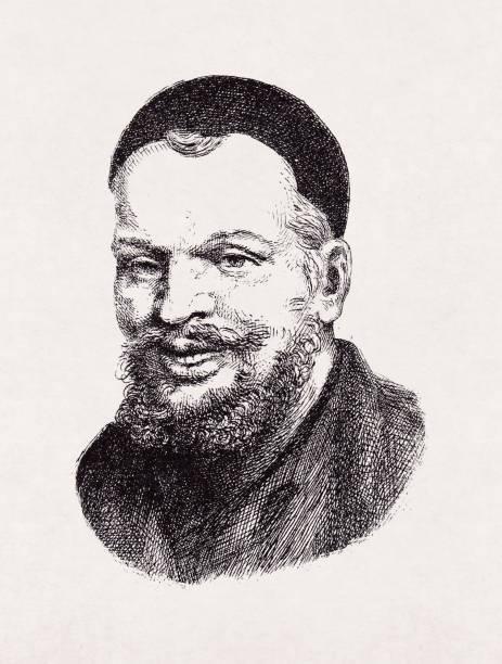 Portrait of François Rabelais vector art illustration