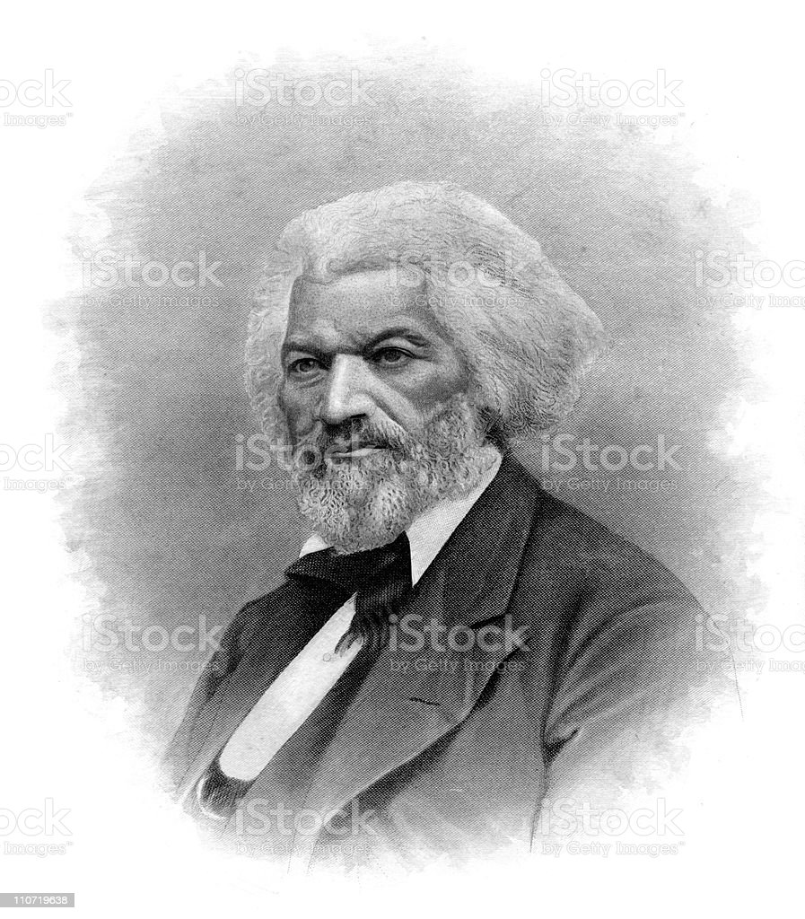 Portrait of Frederick Douglass vector art illustration