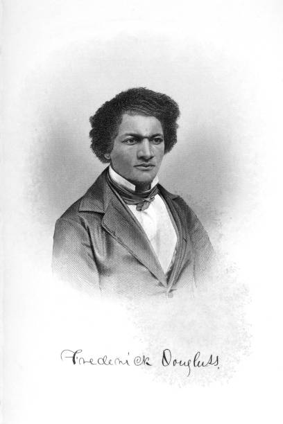Portrait of Frederick Douglass Vintage portrait of Frederick Douglass (1818-1895), an American social reformer, abolitionist, orator, writer, and statesman. After escaping from slavery in Maryland in 1838, he became a national leader of the abolitionist movement in Massachusetts and New York. suffragist stock illustrations