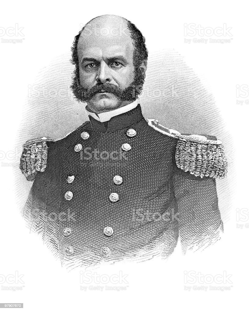 Portrait of General Ambrose Burnside, 1864 royalty-free stock vector art