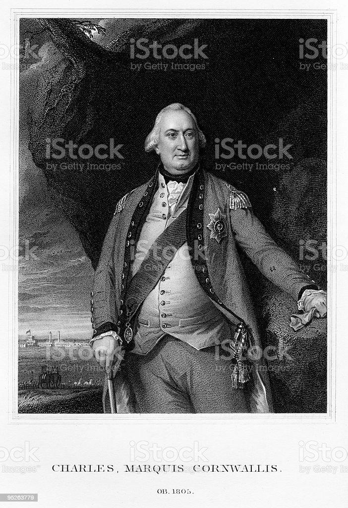 Portrait of General Cornwallis royalty-free stock vector art