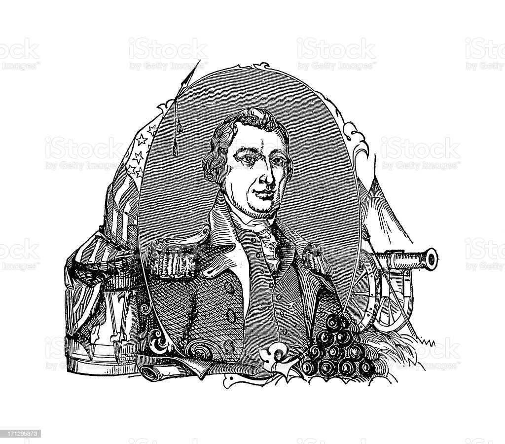 Portrait of General Nathanael Greene | Historic American Illustrations royalty-free stock vector art