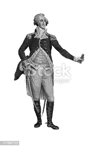 Full-length portrait of George Washington, the first president of the United States of America, serving from 1789 to 1797, who played an important role in the founding of the country. Born on 22 February, 1732 in Westmoreland, Virginia Colony, USA in a family that owned tobacco plantations. Washington died on 14 December, 1799 in Mount Vernon, Virginia, USA. Engraving published in The Pictorial Life of General Washington by J. Frost, LL.D. (Charles J. Gillis, Philadelphia) in 1847.SEE MORE AMERICAN HISTORIC ILLUSTRATIONS HERE: