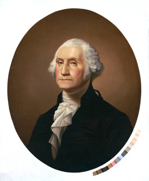 Portrait of George Washington Vintage portrait of George Washington (1732-1799), an American political leader, military general, statesman, and Founding Father who served as the first president of the United States from 1789 to 1797. name of person stock illustrations