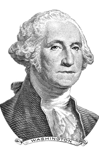 A Portrait Of George Washington In Black And White Stock ...