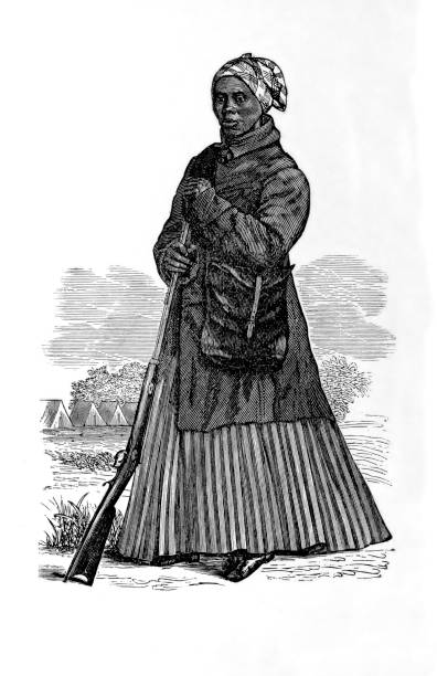 Portrait of Harriet Tubman Vintage engraving of Harriet Tubman (1822-1913), an American abolitionist and political activist. Born into slavery, Tubman escaped and later made some 13 missions to rescue approximately 70 slaves using the network of anti-slavery activists and safe houses known as the Underground Railroad. During the American Civil War, she served as an armed scout and spy for the Union Army. In her later years, Tubman was an activist in the movement for women's suffrage. name of person stock illustrations