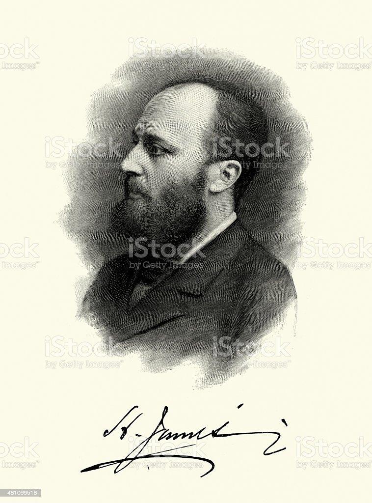Portrait of Henry James vector art illustration