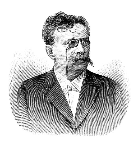 portrait of hermann kretzschmar, music scientist - old man portrait drawing stock illustrations, clip art, cartoons, & icons