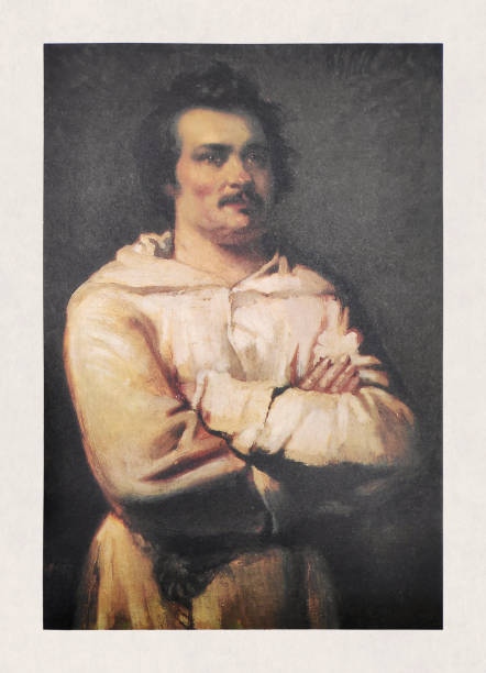 Portrait of Honoré de Balzac vector art illustration
