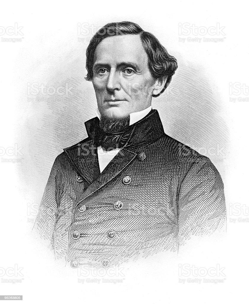 Portrait of Jefferson Davis royalty-free stock vector art