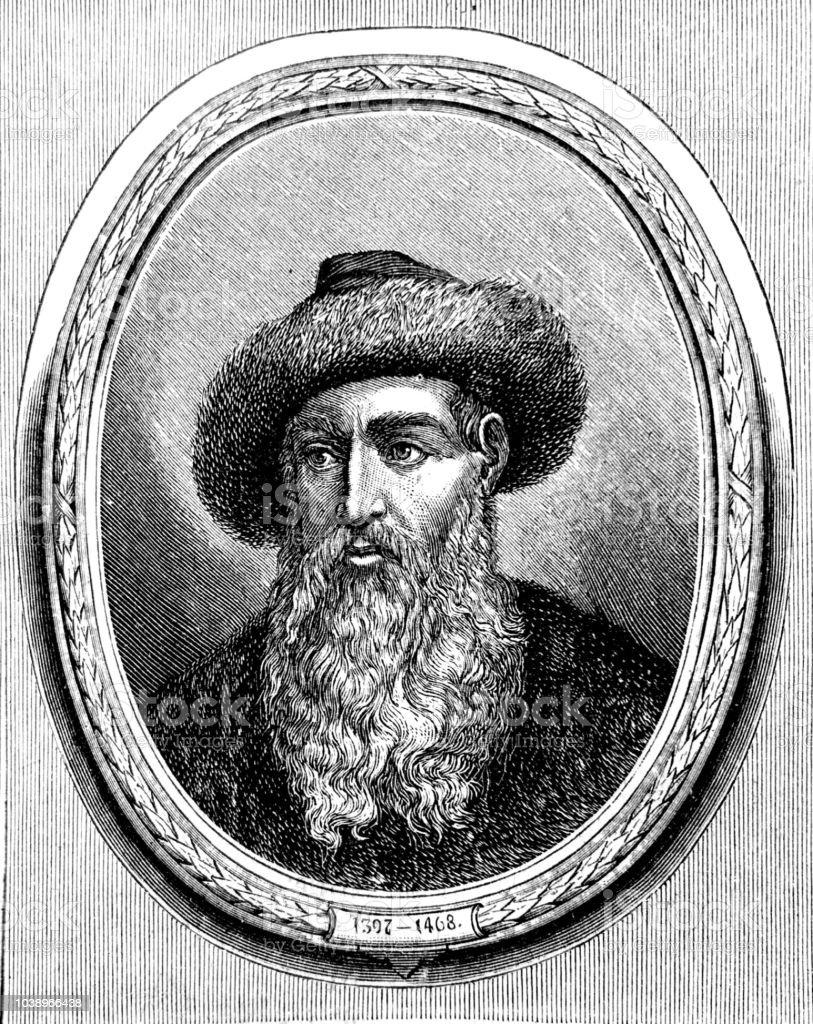Porträt Von Johannes Gutenberg Erfinder Des Buchdrucks Stock Vektor Art und  mehr Bilder von 25 25