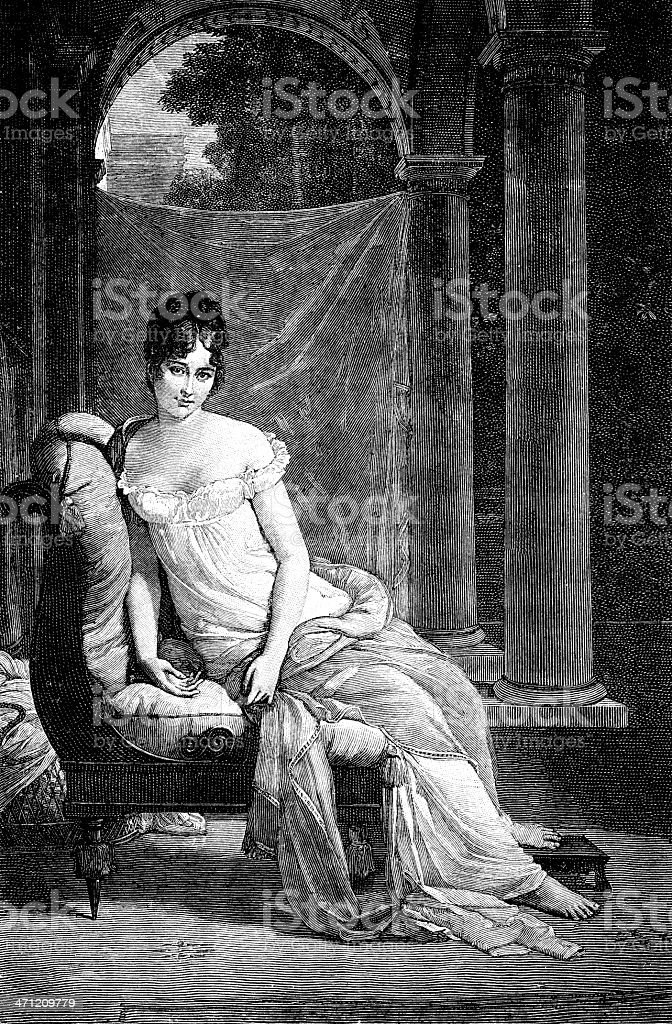 Portrait of Juliette Recamier royalty-free stock vector art