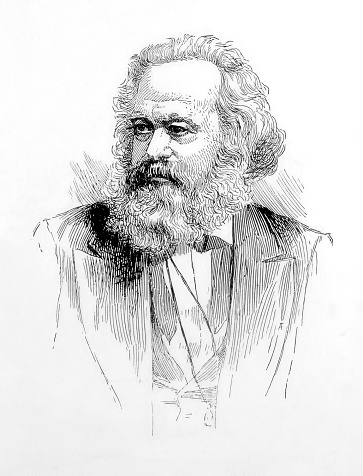 Vintage engraving features a portrait of Karl Marx, a German philosopher, radical economist, and revolutionary leader who founded modern socialism. His basic idea, known as Marxism, forms the foundation of socialist and communist movements throughout the world.