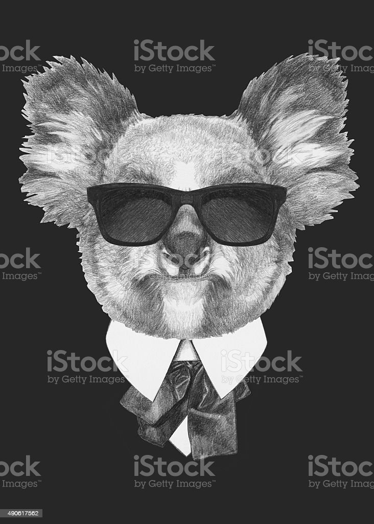 Portrait of Koala bear in suit. vector art illustration