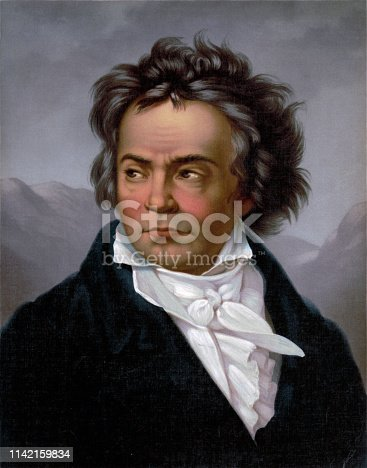 Vintage portrait of famous classical composer, Ludwig Van Beethoven.
