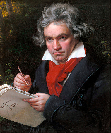 Vintage portrait of famous German composer and pianist, Ludwig Van Beethoven (1770-1827).