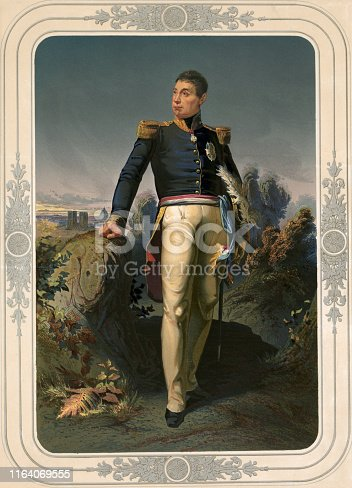 Vintage portrait of Marquis de Lafayette, a French aristocrat and military officer who fought in the American Revolutionary War, commanding American troops in several battles, including the Siege of Yorktown.