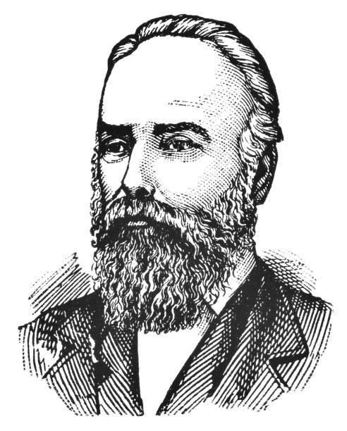 Portrait of Matthew Baillie Begbie - 19th Century Portrait of Sir Matthew Baillie Begbie. Vintage etching circa late 19th century. chief justice stock illustrations