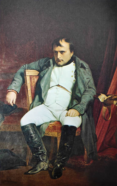 Portrait of Napoleon I after his farewell to Fontainebleau vector art illustration