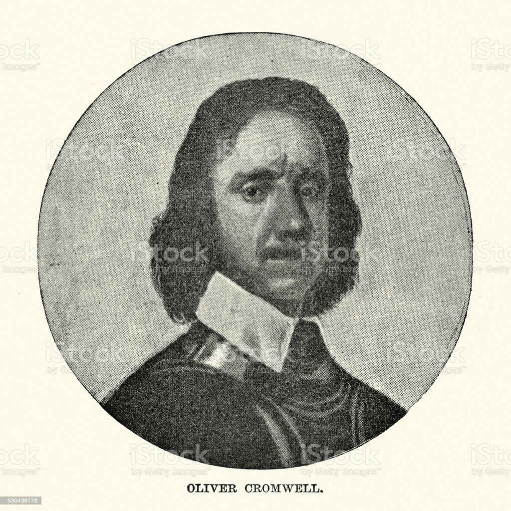 Portrait of Oliver Cromwell vector art illustration