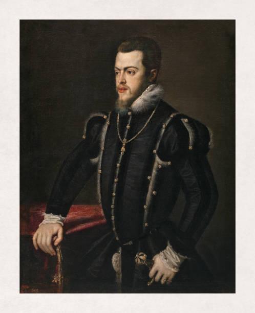 Portrait of Philip II of Spain vector art illustration