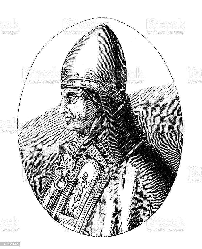 Portrait of Pope Gregory IX vector art illustration