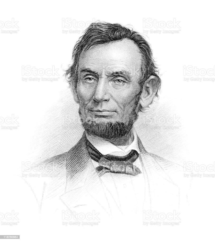 Portrait of President Abraham Lincoln vector art illustration