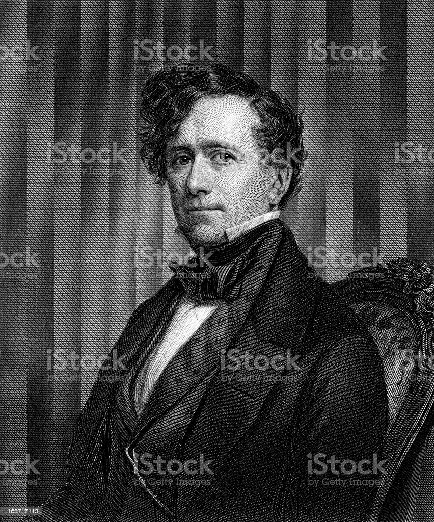 Portrait of President Franklin Pierce vector art illustration
