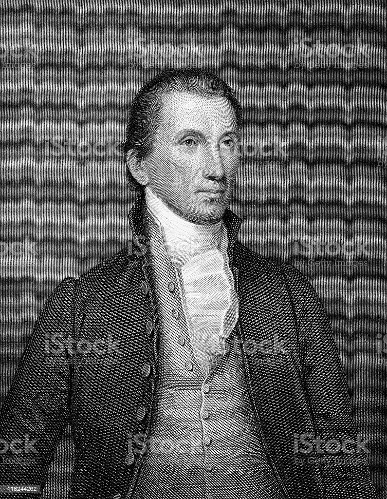 Portrait of President James Monroe vector art illustration