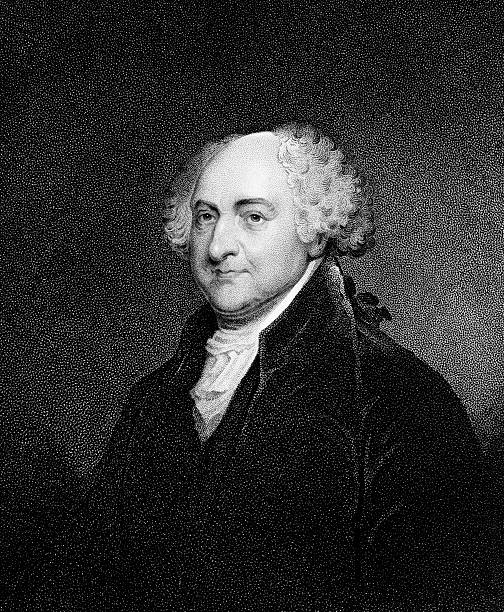 portrait of president john adams - old man photo pictures stock illustrations, clip art, cartoons, & icons