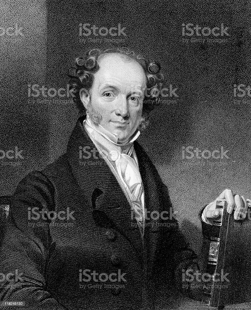 Portrait of President Martin Van Buren vector art illustration
