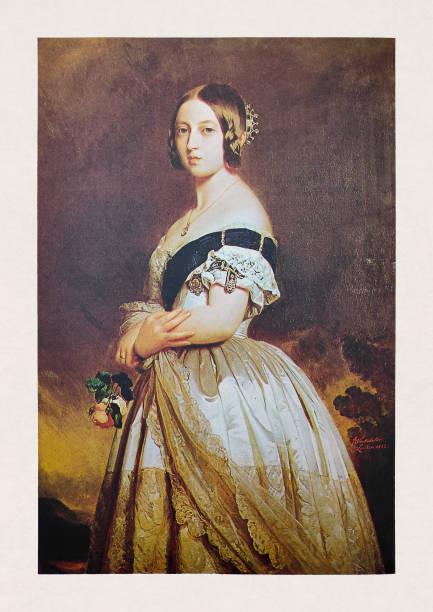 Portrait of Queen Victoria 1st vector art illustration