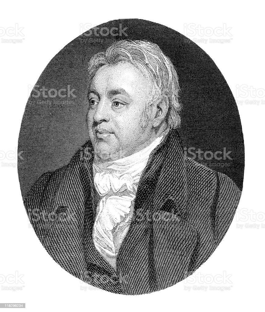 Portrait of Samuel Taylor Coleridge, Poet royalty-free stock vector art