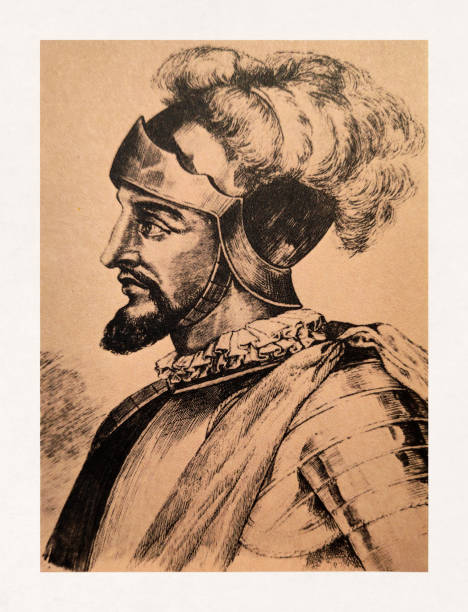 Portrait of Spanish explorer Vasco Nunez de Balboa vector art illustration