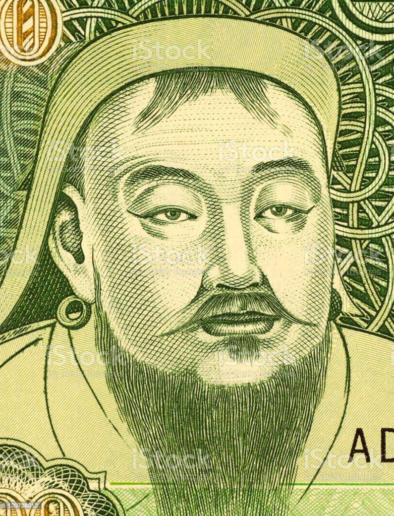 Portrait of the famous Genghis Khan vector art illustration