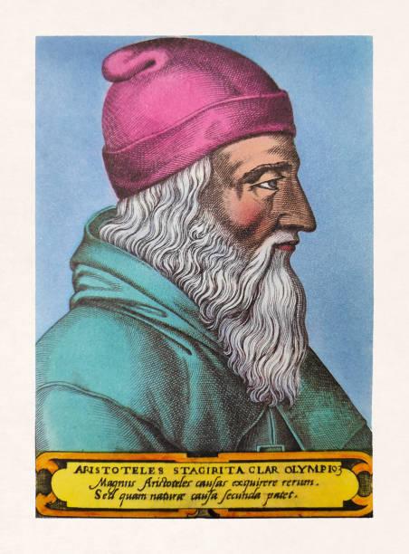 Portrait of the Greek philosopher and polymath Aristotle vector art illustration