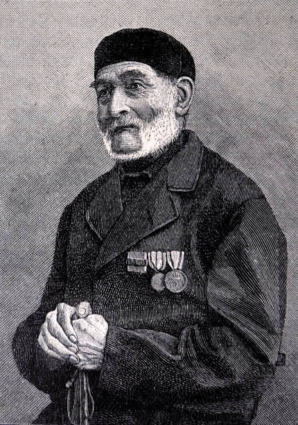 portrait of the old man with many medals - 1896 - old man portrait drawing stock illustrations, clip art, cartoons, & icons