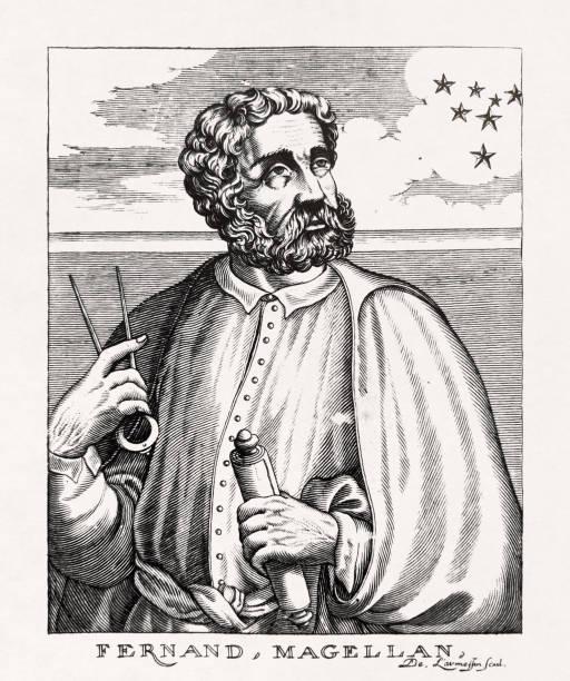 Portrait of the Portuguese explorer Ferdinand Magellan vector art illustration