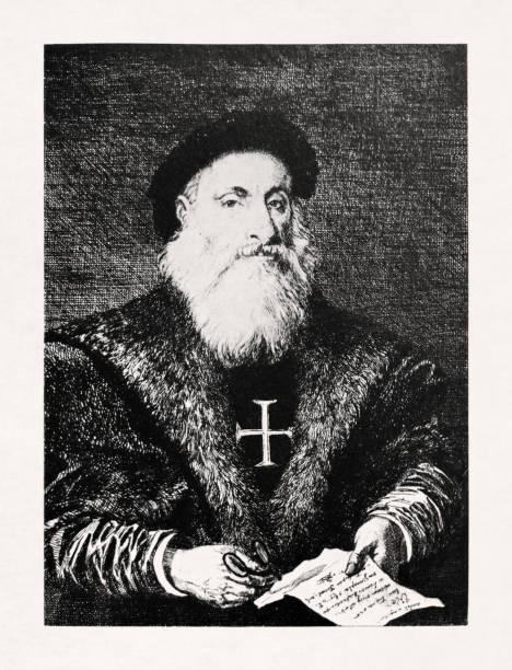 Portrait of the Portuguese explorer Vasco da Gama vector art illustration