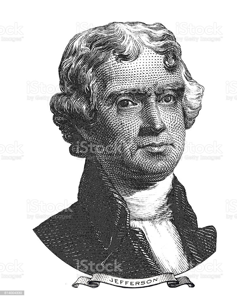 Portrait of Thomas Jefferson vector art illustration